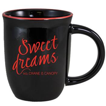 14 oz Salem Gloss Black Custom Mug with Red Halo Accent