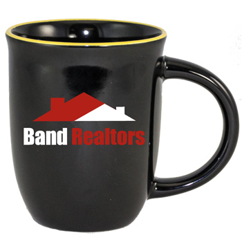 14 oz Salem Gloss Black Custom Mug with Yellow Halo Accent