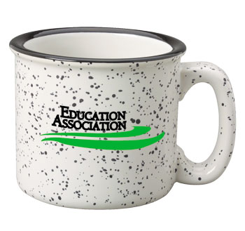 15 oz campfire stoneware speckled mug - white