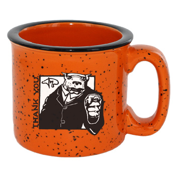 15 oz campfire stoneware speckled mug - orange out