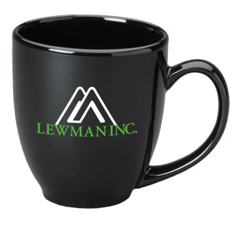 15 oz glossy custom bistro coffee mugs - black