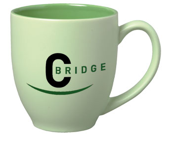 15 oz matte finish custom printed bistro mug  - green