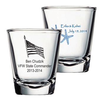 Customized 2 oz shot glass - FREE SHIP
