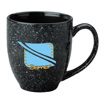 15 oz speckled new mexico custom printed bistro mug - black