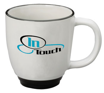 14 oz halo custom designed bistro white body mug - black trim