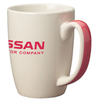 11 oz accent color handle mug - pink