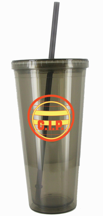 24 oz Smoke journey promotional travel cup with lid and straw