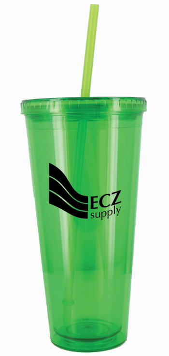 24 oz Apple Green Journey customized travel cup