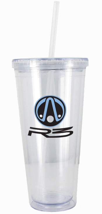 24 oz Clear journey travel cup with lid and straw