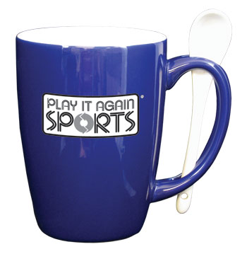 12 oz spoon coffee mug - cobalt blue