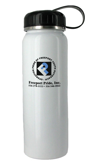 26 oz white quest stainless steel bottle