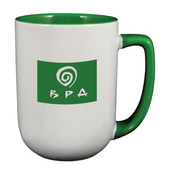 17 oz bakersfield promo two tone coffee mugs - green