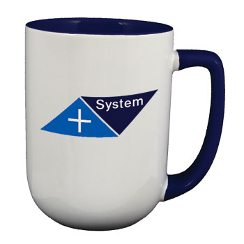 17 oz bakersfield promotion two tone coffee mugs - cobalt blue