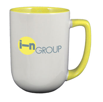 17 oz bakersfield unique two tone coffee mugs - yellow