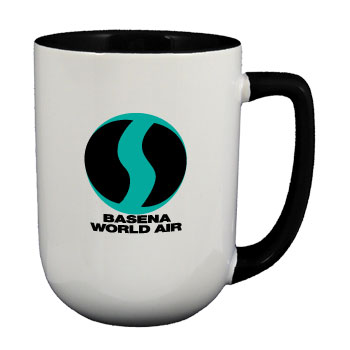 17 oz bakersfield customized two tone coffee mugs - black