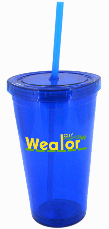 16 oz royal blue journey travel cup with lid and straw