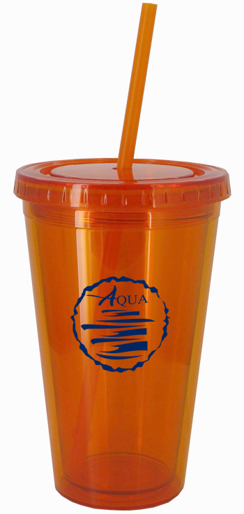 16 oz Tangerine Journey customizable travel cup