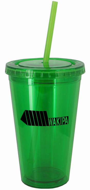 16 oz Apple Green journey travel cup with lid and straw