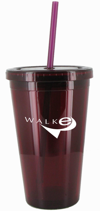 16 oz Maroon journey travel cup with lid and straw