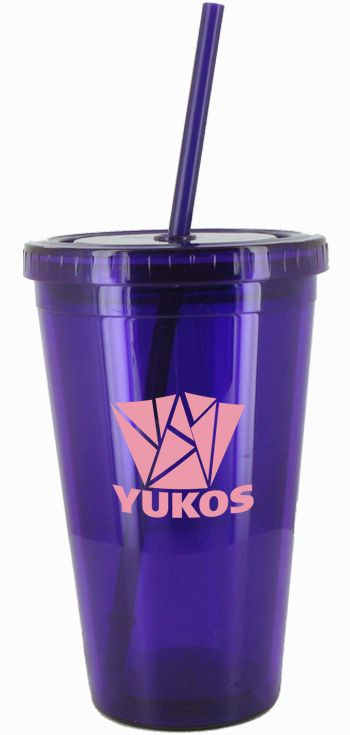 16 oz Purple Journey travel cup with lid and straw