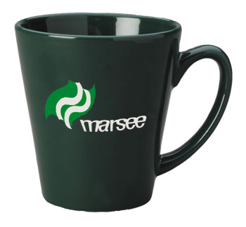 12 oz glossy latte coffee mug - green