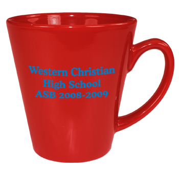 12 oz glossy latte coffee mug - red out