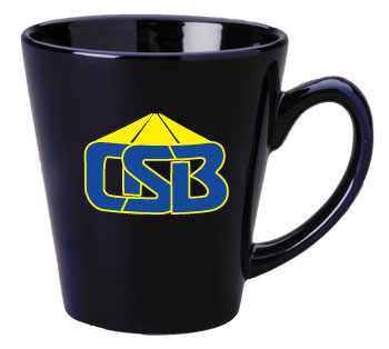 12 oz glossy latte coffee mug - cobalt blue