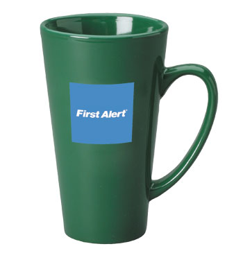 16 oz glossy funnel latte mug - green