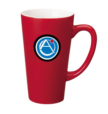 16 oz glossy funnel latte mug - red out
