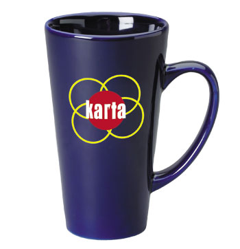 16 oz glossy funnel latte mug - cobalt blue
