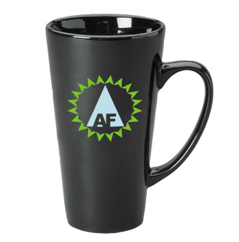 16 oz glossy funnel latte mug - black