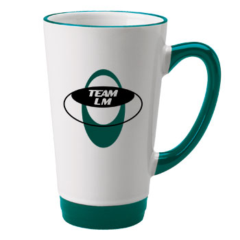 16 oz halo funnel latte mug - green