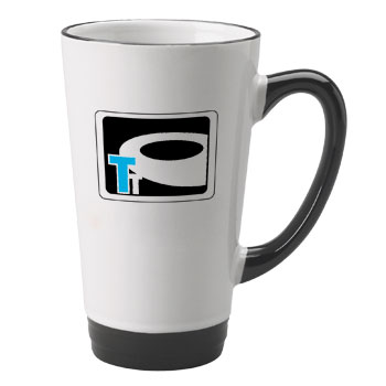 16 oz halo funnel latte mug - black