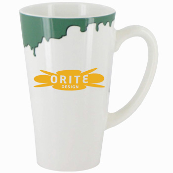 16 oz cody glossy funnel latte mug -white with green drip accent