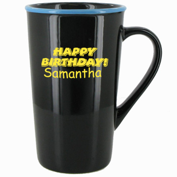 16 oz horizon funnel latte mug - black with sky blue rim