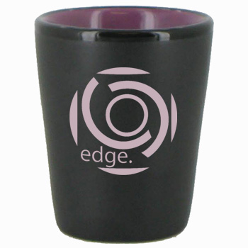 Wedding 1.5 oz ceramic shot glass - matte black and lilac