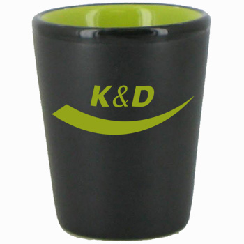1.5 oz wedding shot glass - matte black out/gloss Lime Green in