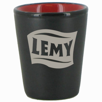 1.5 oz ceramic shot glass - matte black out/gloss Red in