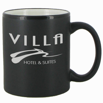 11 oz Hilo Two Tone Matte Finish Black Out/white In C-Handle Mug