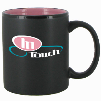 11 oz Hilo Two Tone Matte Finish Black Out/Pink In C-Handle Mug