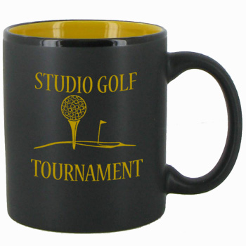11 oz Hilo Two Tone Matte Finish Black Out/Yellow In CHandle Mug