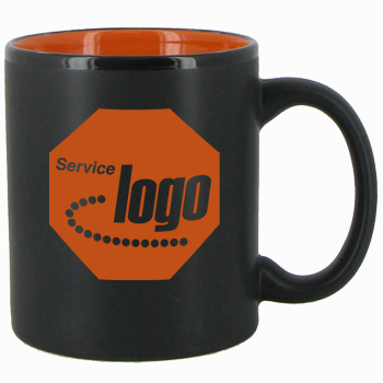 11 oz Hilo Two Tone Matte Finish Black Out/Orange In CHandle Mug