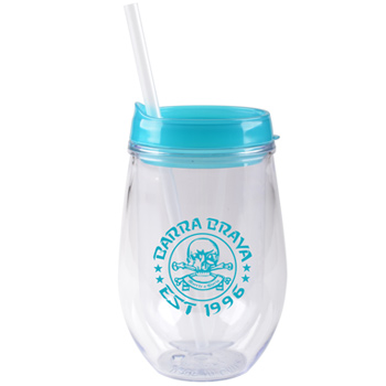 10 oz stemless double wall cup with lid and straw - Aqua