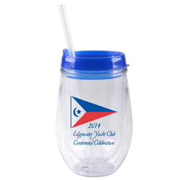 10 oz Stemless cup with lid and straw - Blue - Free Shipping