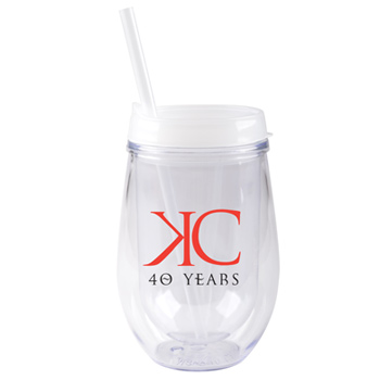 10 oz stemless double wall cup with lid and straw - Frost