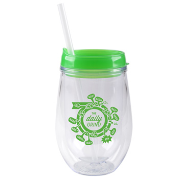 10 oz stemless double wall cup with lid and straw - Green