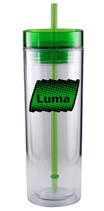 16 oz  customized Breeze acrylic travel mug with straw