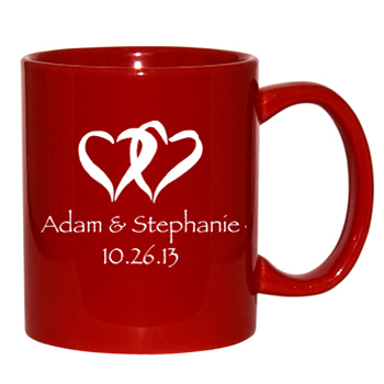 11 oz personalized coffee mug - vibrant red