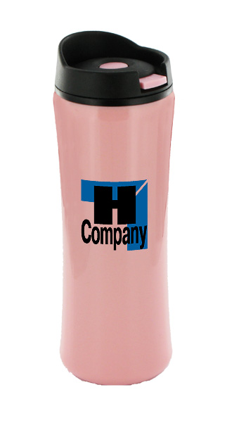 14 oz clicker travel coffee mugs - pink