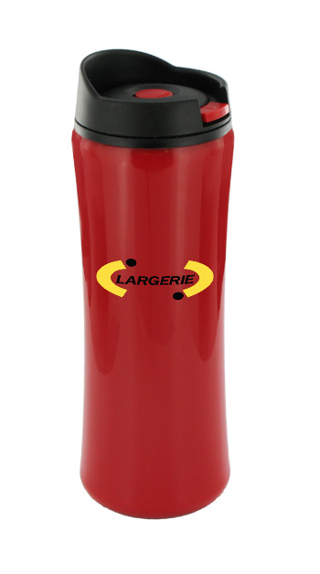 14 oz clicker travel coffee mugs - red